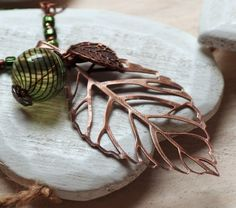 Copper leaf necklace leaf pendant long boho necklace hollow glass bead jewelry bohemian pendant skeleton leaf handmade jewelry european N33
