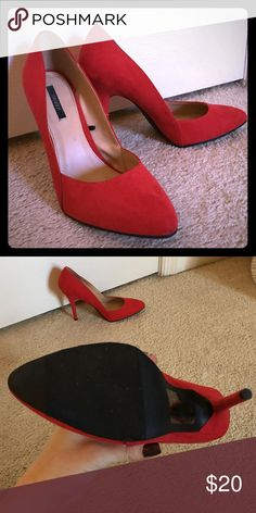 Forever 21 Red Hot Pumps Minimally worn faux suede pumps. These are 8.5 but fit way more like 8. Open to considering trade. Forever 21 Shoes Heels
