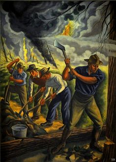 1938 ... Fighting Forest Fire WPA artist- Ernest Fiene. My father was a firefighter during this time.  Once he walked the entire perimeter of the fire, battling it as he went.  As he approached the end of the circuit the leader saw him and, in relief, told him that they had not known where he was and feared for him.