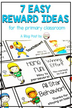 Check out this blog post with 7 easy reward ideas for the primary or elementary classroom. Verbal and nonverbal reward ideas along with free and low cost activities and ideas. A fun addition to your classroom management routine!