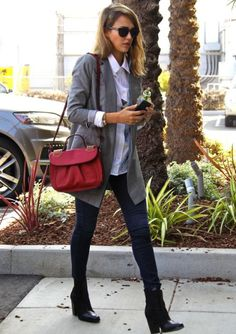 Jessica-Alba-Street-Style-StyleChi-Best-Outfits-Red-Christian-Louboutin-Cross-Body-Bag-Sunglasses-Grey-Blazer-Skinny-Jeans-Black-Ankle-Boots