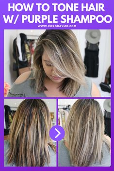 How to Tone Brassy Hair with Purple Shampoo Did you know purple shampoo can cancel out brassy tones in blonde hair? I'm showing you guys how you can go from brassy hair to ashy hair using this drugstore purple shampoo! Purple Shampoo Toner, Lila Shampoo, Purple Shampoo For Blondes, Purple Shampoo And Conditioner, Best Purple Shampoo, Shampoo For Gray Hair, Hair Shampoo, Blonde Hair Looks, Light Blonde Hair