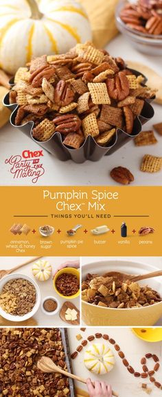 Don't limit pumpkin spice to lattes! Homemade Pumpkin Spice Chex Mix has all the fall flavor you love with brown sugar and nutty pecans, and it's a perfect snack for a Girl's Night In or Friendsgiving potluck. (I think the kids will like it too! Pumpkin Recipes, Fall Recipes, Holiday Recipes, Pumpkin Spice Chex Mix Recipe, Pumpkin Spice Pecans, Holiday Foods, Christmas Recipes, Fall Snacks, Fall Snack Mixes