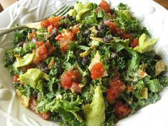 Taco Kale Salad with a Homemade Chipotle Ranch Dressing (Vegetarian/Gluten-Free) Gluten Free Cooking, Gluten Free Recipes, Taco Salad Doritos, Chipotle Ranch Dressing, Homemade Chipotle, Kale Salad, Foods With Gluten, Real Food Recipes, Salad Recipes