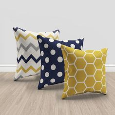 Items similar to navy blue and mustard yellow and cream throw pillows, set of 3 pillows, geometric and chevron pillows, mustard throw pillow, navy blue on Etsy Living Room Themes, Living Room Grey, Blue And Yellow Living Room, Living Rooms, Apartment Living, Family Rooms, Yellow Throw Pillows, Couch Pillows, Yellow Cushions