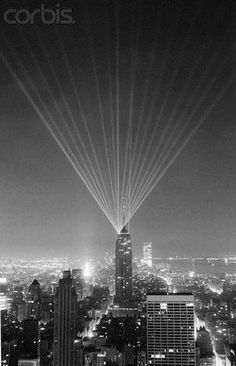 The Empire State Buildings Birthday, laser lights from the roof. April Photo from the Bettmann Corbis Archive. My Town, 50th Birthday, Historical Photos, Seattle Skyline, Empire State Building, Old And New, 30th, Exotic, Buildings