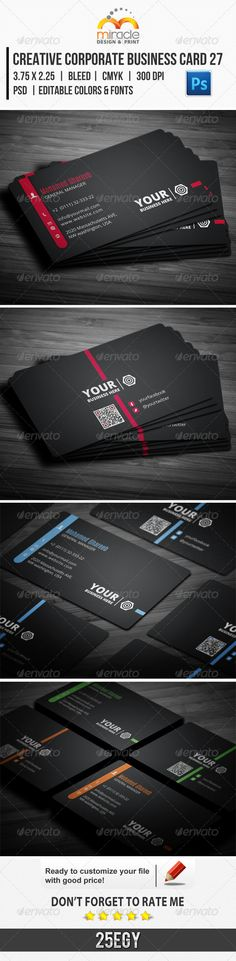 Creative Corporate Business Card 27 :  Check out this #great #creative #graphicriver item 'Creative Corporate Business Card 27' http://graphicriver.net/item/creative-corporate-business-card-27/6383493?ref=25EGY
