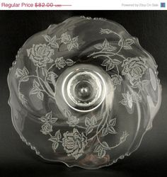 Vintage Heisey Rose Cake Salver Low Pedestal #1519 Waverly Blank 13 in Heisey Glass Company introduced the Rose pattern in 1949 and continued