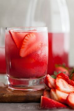Hibiscus Strawberry Rhubarb Iced Tea by YUM Refreshing Drinks, Summer Drinks, Cold Drinks, Fun Drinks, Healthy Drinks, Beverages, Rhubarb Recipes, Tea Recipes, Cooking Recipes
