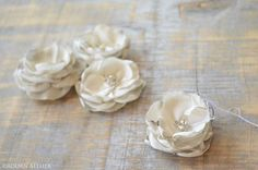 hand made rose blossoms - in process