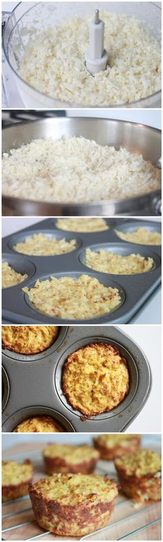 "Paleo Cauliflower ""Biscuits"" 23 Next-Level Biscuits You Need To Try Banting Recipes, Vegetable Recipes, Low Carb Recipes, Vegetarian Recipes, Cooking Recipes, Healthy Recipes, Coliflour Recipes, Good Food, Yummy Food"