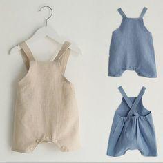 Moda Bebé Niñas Niños Mamelucos Lindo Verano Color sólido Suspender Infantil  Niños ropa de lino suave Monos cortos 0c1d2c5143ff
