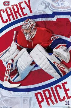 NHL Montreal Canadiens - Carey Price Flyers Hockey, Hockey Goalie, Ice Hockey, Hockey Players, Soccer, Montreal Canadiens, Nhl Boston Bruins, Chicago Blackhawks, Montreal Hockey