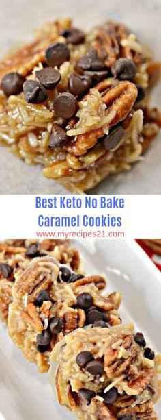 Best Keto No Bake Caramel Cookies #keto #cookies #dessert