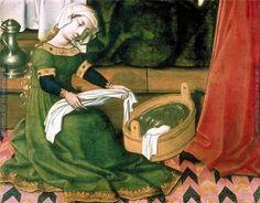 """Фрагмент картины """"Рождество Богоматери"""". Художник - т.н. Мастер замка Лихтенштейн, 1440-1450 гг. Находится в Австрийской галерее (Галерея Бельведер)."""