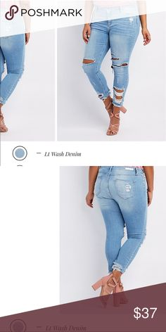 Brand new Plus size Cello destroyed boyfriend jean Brand new Plus size Charlotte Russe Cello boyfriend destroyed jeans in color light denim wash . Size 22 us Page description 👉🏼Online only! Thick, whiskered denim is ripped and shredded for the perfect touch of destruction, forming light wash, mid-rise jeans in that coveted boyfriend fit! Slouchy, skinny legs are finished with frayed ankles for an on-trend finish.  Zip fly with top button Five pocket cut Brands We Love: Cello Product Care…