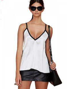 White Contrast Black Spaghetti Strap Vest