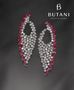 BUTANI DIAMOND AND RUBY EARRINGS - Flaunt your style and sophistication with just the right amount of dazzle in diamonds and rubies #Butani #ButaniJewellery (=)