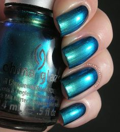 China Glaze Deviantly Daring swatch New Bohemian collection swatches duochrome metallic turquoise blue nail polish