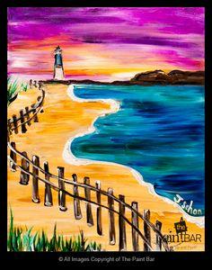 Beach Light House Painting - Jackie Schon, The Paint Bar