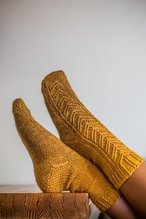 Wheatfield Socks, by Kate Atherley. Sportweight sock knitting