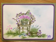 Art Impressions Rubber Stamps: Wonderful Watercolor.  Handmade card with flowers, foliage, chair, flower pots, grass, birds.