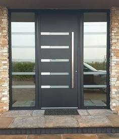 Modern Entrance Door, Main Entrance Door Design, Modern Exterior Doors, Modern Front Door, Front Door Entrance, House Front Door, Aluminium Door Design, Aluminium Front Door, Aluminium Windows