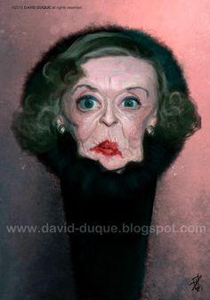 Caricatura de la mítica actriz de Hollywood Bette Davis, realizada por el artista David Duque.     ...