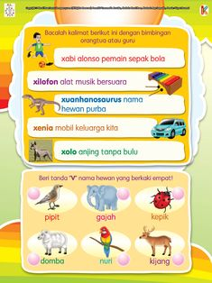 Baca Huruf  X dan Menandai Hewan Kaki Empat Xabi Alonso, Kids Corner, Kids Reading, Worksheets For Kids, First Grade, My Children, Preschool Activities, Elementary Schools, Homeschool