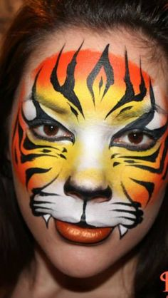 Face painting by estelle Tiger Makeup, Tiger Face Paints, Jungle Theme Parties, Balloon Painting, Face Design, Beautiful Paintings, Face Art, Fall Halloween, Painting Inspiration
