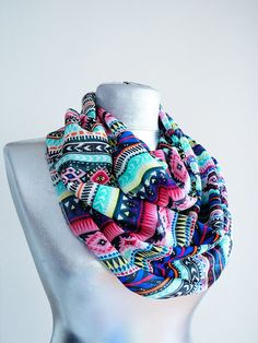 Handmade Colorful Tribal Infinity Scarf - Summer Chiffon Scarf