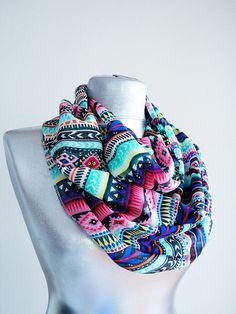 Handmade Colorful Tribal Infinity Scarf - Summer Chiffon Scarf