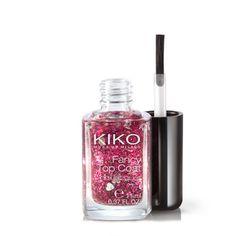 Top Coat Nagellack von KIKO mit Glitter für besondere Effekte und ein brillantes, vielfarbiges Finish, ideal für das Setzen von Lichtpunkten auf den Nägeln. Verfügbar in 10 Nagellackfarben mit unterschiedlichem Glitter.