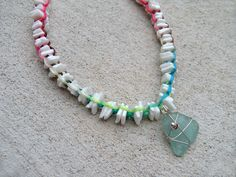 Puka shell & sea glass necklace surfer girl style colorful white shell beads beach treasures.