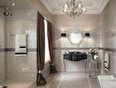 lila und grau farbkombination im badezimmer kronleuchter wanne, Hause ideen