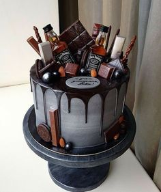 The Groom's Cake – A Brief History & Inspiration — Marrygrams // Bourbon and chocolate are the groom's cake version PB & J. Add tiny bottles of Jack to really get the party started. - The Groom's Cake - A Brief History & Inspiration Birthday Cake For Him, 21st Birthday Cakes, Alcohol Birthday Cake, 30th Cake, Guys 21st Birthday, 21st Birthday Ideas For Guys, Birthday Cake Designs, Birthday Cake For Boyfriend, Beer Birthday Party