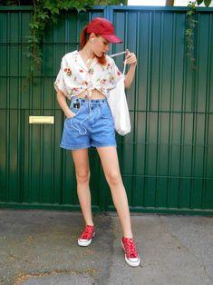Vintage High Waisted Denim Shorts / Jean Shorts / Retro Denim | Etsy Vintage High Waisted Shorts, Waisted Denim, Denim Skirt, Jean Shorts, High Jeans, High Waist Jeans, Hippie Festival, Collar Blouse, Beautiful Models