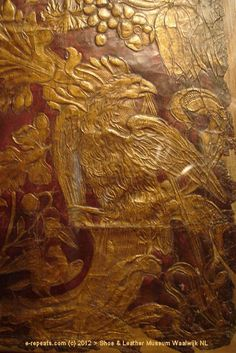 Gilded leather probably found its origin in the present Libië (North Africa) and later on was introduced, trough Spain and France, into the Netherlands. The first gilt leather-craft shop for wall covering and furniture in the Nord of Holland was founded in early 1600s