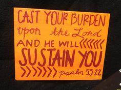 Scripture canvas art Psalm 55:22