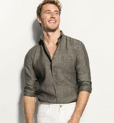 Khaki linen shirt by Massimo Dutti