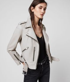 Buy AllSaints Balfern Leather Biker Jacket, Cement Grey, 8 from our Women's Coats & Jackets range at John Lewis & Partners. Free Delivery on orders over All Saints Leather Jacket, Grey Leather Jacket, Leather Jacket Outfits, Biker Leather, Leather Blazer, Suede Jacket, Leather Jackets, Tan Leather, Allsaints Looks