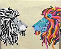 Colorful Lion Art by Tutucutebowzco on Etsy https://www.etsy.com/listing/386048564/colorful-lion-art
