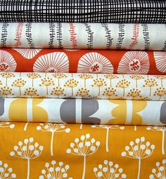 Love that dandelion fabric, the mustard and red one are precious!