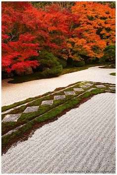 Tenju-an temple, Nanzen-ji, Kyoto. Rock and moss pathway in the shiki-ishi style.
