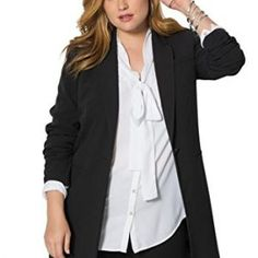 44c4279ae1744 Price  This long plus size blazer is the cornerstone for a flawlessly  put-together outfit. shaped fit notched lapel and single button front light  shoulder ...