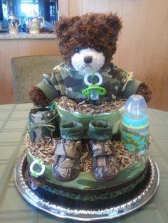 Camo Diaper Cake www.facebook.com/sarahsdiapercake