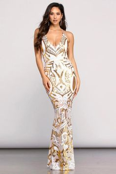 Sequin Mesh Strappy Gown - Ginger Sequin Mesh Strappy Gown – Windsor -Ginger Sequin Mesh Strappy Gown - Ginger Sequin Mesh Strappy Gown – Windsor - Rose Marie Metallic Formal Dress – Windsor Blush Sequins Keyhole Back Party Gown – CHICSYOU Long Dresses Metallic Formal Dresses, Cute Maxi Dress, Trumpet Dress, Sequin Gown, Windsor Dresses, Mermaid Dresses, Beautiful Gowns, Beautiful Body, Evening Dresses