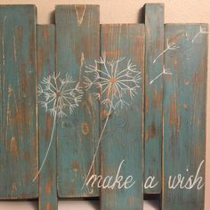 Distressed Hand painted Dandelion Make a Wish Wood por 2StormyBirds