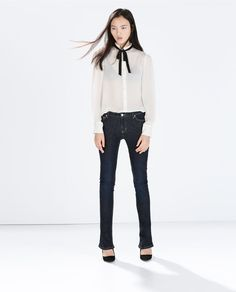 Image 1 of CONTRAST TIE-NECK SILK BLOUSE from Zara