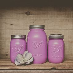 Paint mason jars in an orchid shade for a quick and easy colour fix. #hotlooks